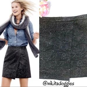 J. Crew Origami Metallic Faux Wrap Black Skirt